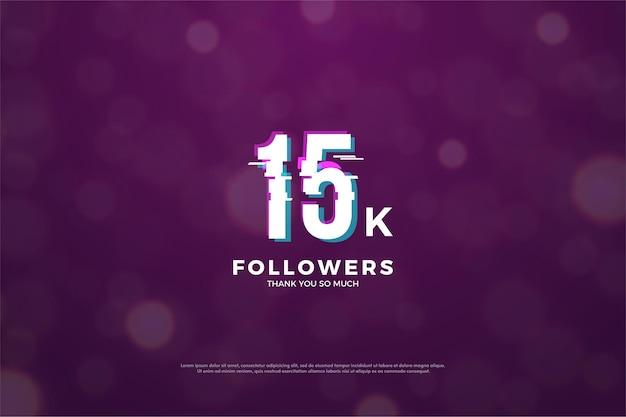 Hintergrund für 15.000 follower mit eingeschnittenen nummern.