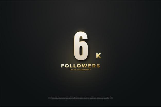 Hintergrund für 6k follower illustration mit glitzerzahlen und perlen