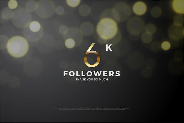 Hintergrund für 6k-follower-illustration mit goldenen zahlen und bokeh-effekt