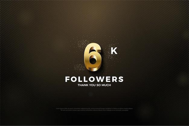 Hintergrund für 6k follower mit glänzenden goldenen zahlen