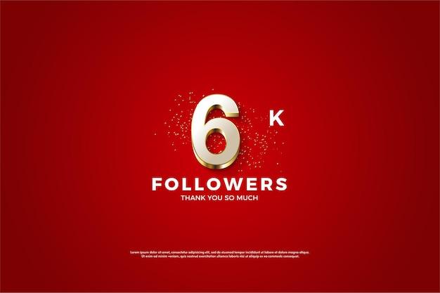 Hintergrund für 6k follower mit luxuriösen vergoldeten zahlen