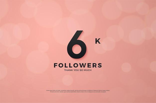 Hintergrund für 6k follower mit zahlen auf rosa hintergrund