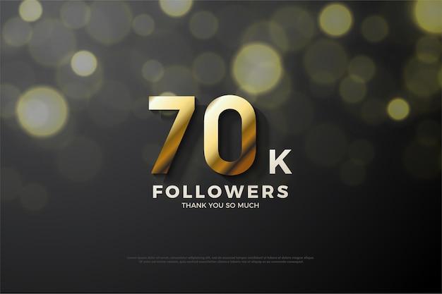 Hintergrund für 70.000 anhänger mit geprägten und schattierten goldnummern