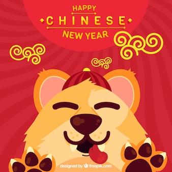 Hintergrund für chinesisches neues jahr mit lustigem hund