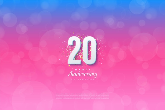 Hintergrund für den 20. anivversary vor einem abgestuften blauen und rosa hintergrund