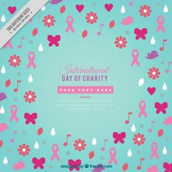 Hintergrund für die internationale charity-tag mit elementen in flachen stil