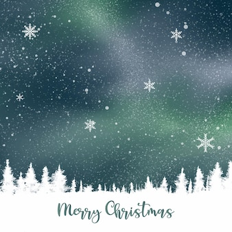 Hintergrund für eine grußkarte der frohen weihnachten mit einem kiefernkopienraum gegen einen reizenden nachthimmel mit schnee und schneeflocken.