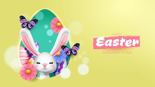 Hintergrund für ostern mit einem lustigen kaninchen
