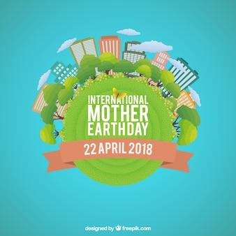 Hintergrund für den internationalen Muttererdetag im flachen Design