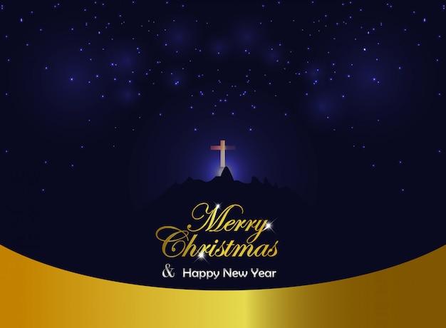 Hintergrund-goldblaupanorama der frohen weihnachten