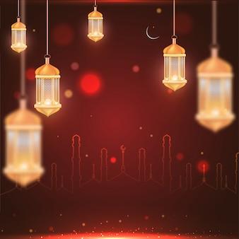 Hintergrund golden beleuchtete laternen und strichzeichnungen moschee