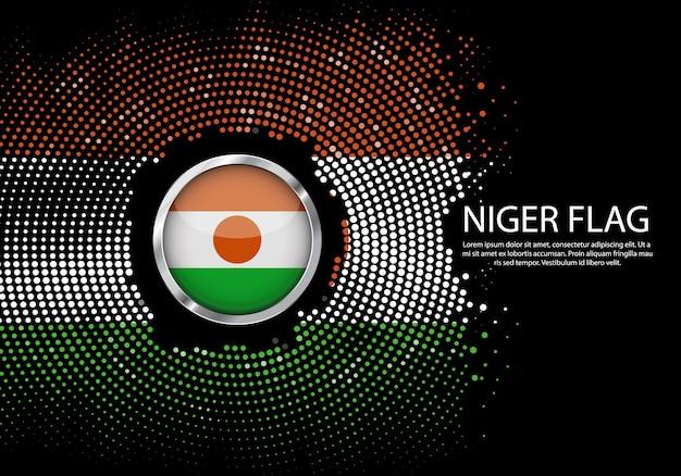 Hintergrund-halbton-steigungsschablone von niger-flagge.