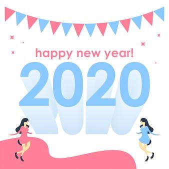 Hintergrund-illustrationsvektor des guten rutsch ins neue jahr 2020