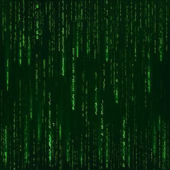 Hintergrund im matrixstil. grüne zufallszahlen. science-fiction oder futuristische kulisse. kodierte daten. vektor-illustration