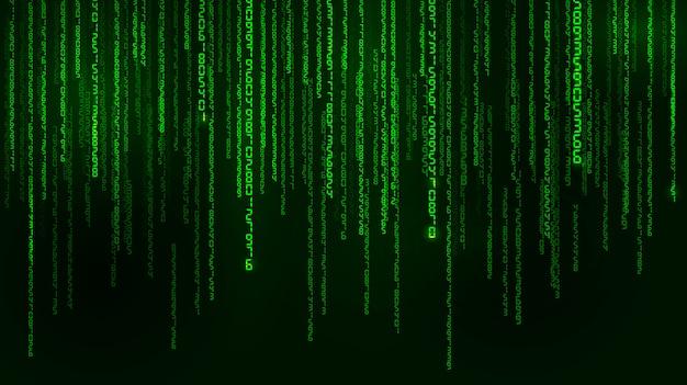 Hintergrund in einem matrixstil. fallende zufallszahlen. grün ist die dominierende farbe.