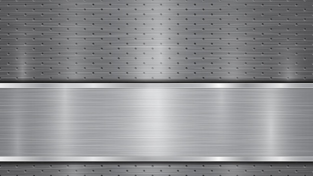 Hintergrund in grauen farben, bestehend aus einer metallisch perforierten oberfläche mit löchern und einer polierten platte mit metallstruktur, blendungen und glänzenden kanten