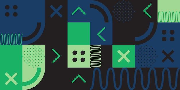 Hintergrund in kubischen formen gemalt und mit linien und verschiedenen farben verziert. einfache formen, frische wellen, tiefes schwarz und grüne farben.