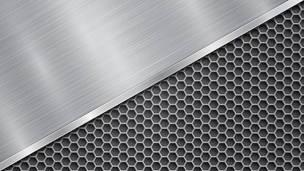 Hintergrund in silbernen und grauen farben, bestehend aus einer perforierten metallischen oberfläche mit löchern und einer großen polierten platte, die diagonal angeordnet ist, mit metallstruktur, blendung und glänzendem rand