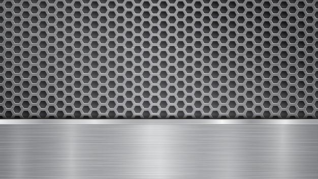 Hintergrund in silbernen und grauen farben, bestehend aus einer perforierten metalloberfläche mit löchern und einer horizontalen polierten platte, die sich darunter befindet, mit einer metallstruktur, blendungen und glänzenden kanten