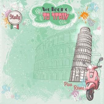 Hintergrund italiens für ihren text mit dem bild des kolosseums, des schiefen turms und des rosa mopeds