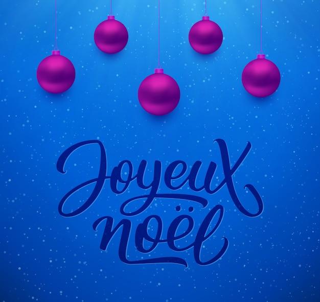 Hintergrund joyeux noel mit weihnachtsbällen