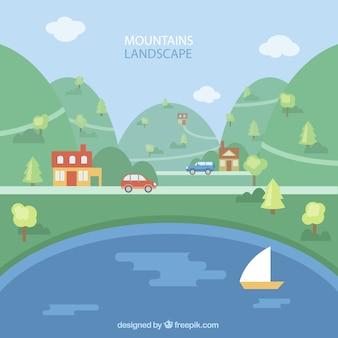 Hintergrund landschaft mit bergen und fluss in flaches design