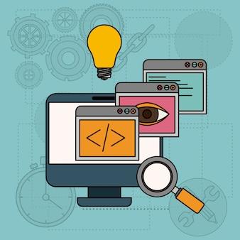 Hintergrund mit apps fenstern in der entwicklung von ideen im tischrechner