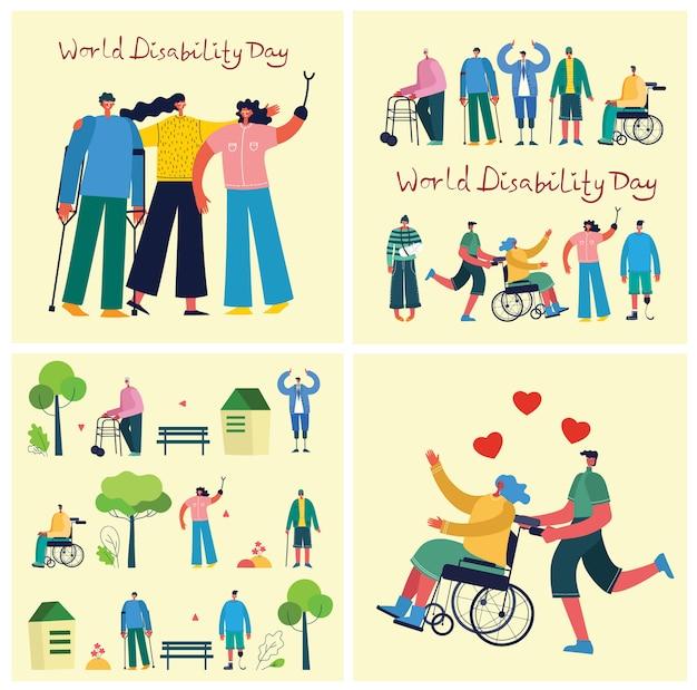 Hintergrund mit behinderten menschen, jungen handycap-personen und freunden in der nähe zu helfen. welttag der behinderung. flache zeichentrickfiguren.
