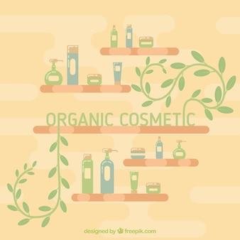 Hintergrund mit bio-produkten in den regalen