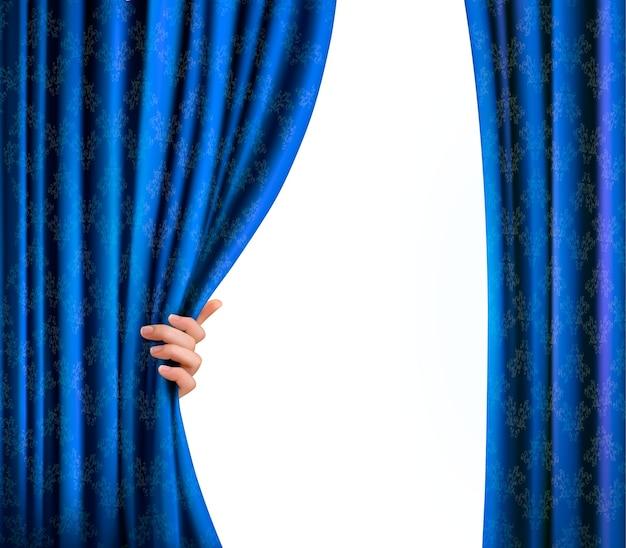 Hintergrund mit blauem samtvorhang und hand