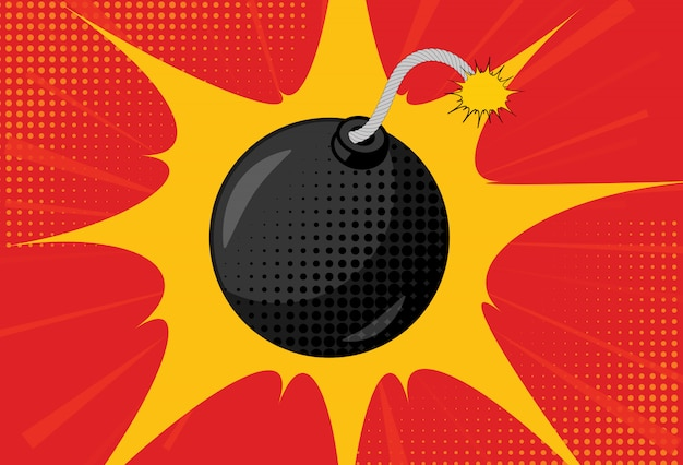 Hintergrund mit bombe im pop-art-stil