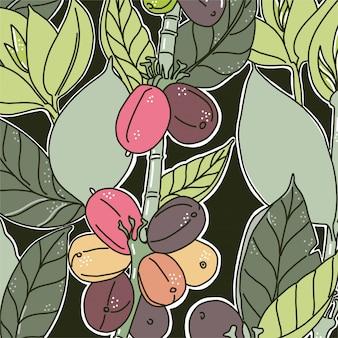 Hintergrund mit buntem blumenmuster. kaffeebohnen und blätter. grüne farben dunkler hintergrund