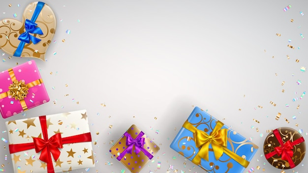 Hintergrund mit bunten geschenkboxen mit bändern, schleifen und verschiedenen mustern