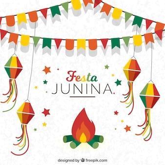 Hintergrund mit dekoration und lagerfeuer von festa junina