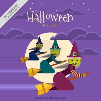 Hintergrund mit drei hexen für halloween fliegen