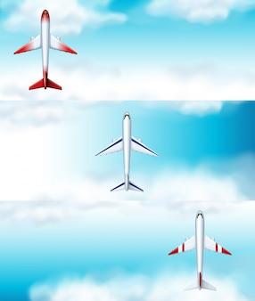 Hintergrund mit drei szenenhintergründen des flugzeugfliegens tagsüber