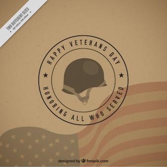 Hintergrund mit einem militärischen helm für veteranen-tag