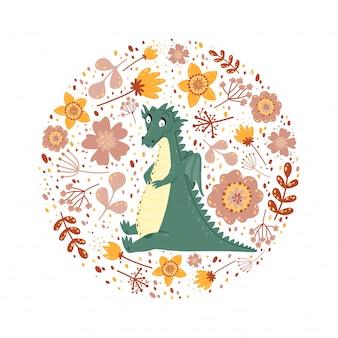 Hintergrund mit einem niedlichen drachen