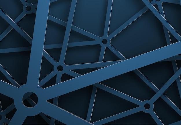 Hintergrund mit einem spinnennetz aus blauen linien. abstrakte gittervorlage für poster, flyer oder websites.