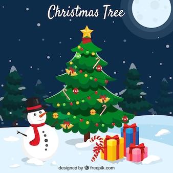 Hintergrund mit einem weihnachtsbaum, einem schneemann und geschenken