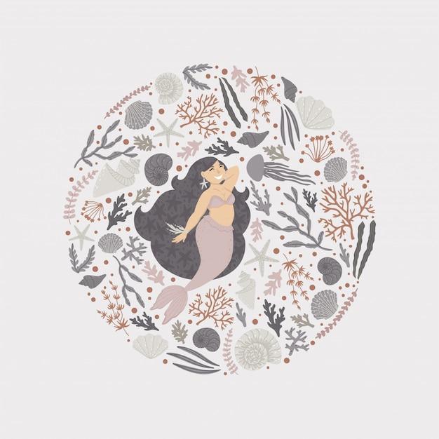 Hintergrund mit einer schönen meerjungfrau