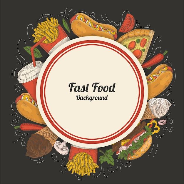 Hintergrund mit elementen des fastfoods
