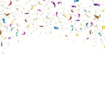 Hintergrund mit fallendem konfettiweißem hintergrund