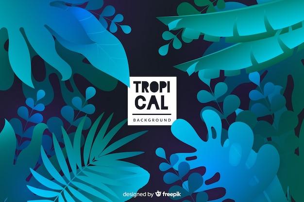 Hintergrund mit farbverlauf mit tropischen blättern