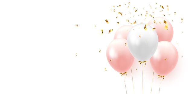 Hintergrund mit festlichen realistischen luftballons mit band.