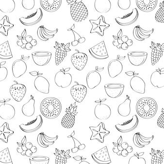 Hintergrund mit früchten icons