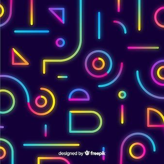 Hintergrund mit geometrischen formen und neonart