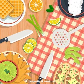 Hintergrund mit gesundem und köstlichem lebensmittel
