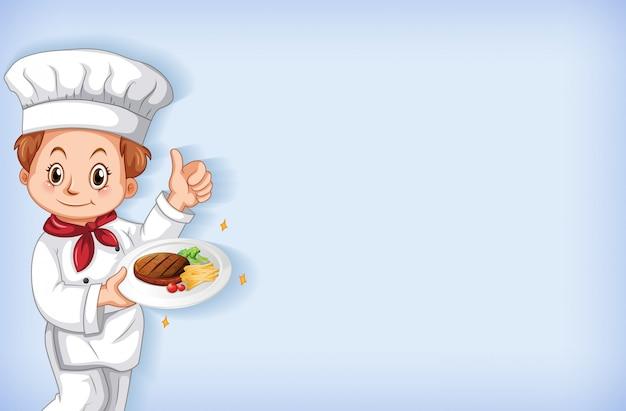 Hintergrund mit glücklichem koch mit steak in seiner hand