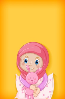 Hintergrund mit glücklichem muslimischen mädchen im pyjama